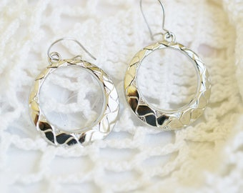Vintage Silver Hoop Circle Dangle Pierced Earrings, Special Gift for Her