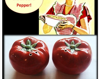 Vintage Tomato Salt and Pepper Shakers, Mid Century Kitchenware, 1950's, 50's, Salt and Pepper, Ceramic Shakers, Kitsch, Vintage Kitchen