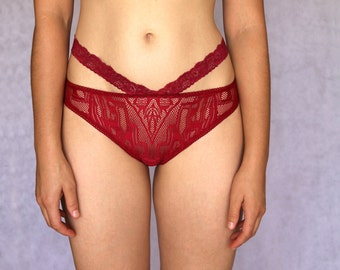 Burgundy Lace Sheer Panties. Deep Red Panties. Lace Lingerie. Knickers