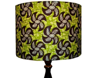 Spinning Leaf Drum Lampshade, Greenery Drum Lampshade, Back To School, Dorm Room Decor, Woodland Lampshade, Ready to Ship, Detola and Geek