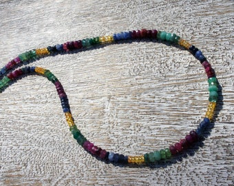 Emerald, Ruby, sapphire NECKLACE. S.S.  Faceted precious gemstones. AAA+ quality/natural/birthstone/everyday/Boho/sparkle/flash