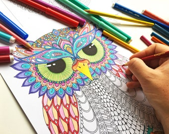 HELLO ANGEL - Frank Owl Coloring Page