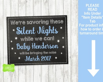 Silent Night Pregnancy  Announcement Sign - Printable Pregnancy Announcement Sign - Digital Chalkboard Sign