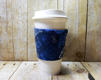 Fabric Coffee Cozy / Dr. Who Coffee Cozy / Glow in the Dark Coffee Cozy / Tardis Coffee Cozy / Coffee Cozy / Tea Cozy