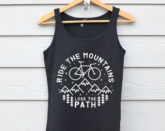 Women's Bike Tank Top / Bicycle Print Tanks / Cotton Tank Tops / Mountain Bike Tops / Bike Accessories / Fitted Black Vests
