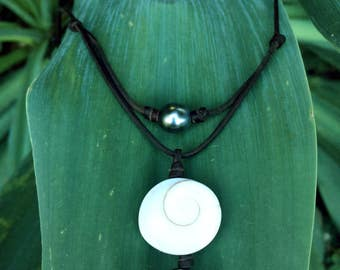 Tahitian pearls and eye of shiva shellnecklace, adjustable  size australian leather necklace