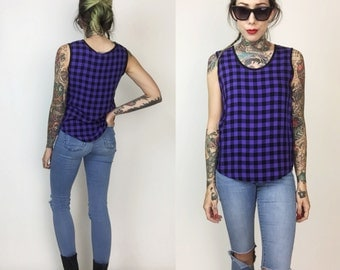 90's Gingham Purple & Black Sleeveless Tank Size Small - Checkered Printed Tank Top 1990's Vintage Casual Tank - All Over Print Gingham