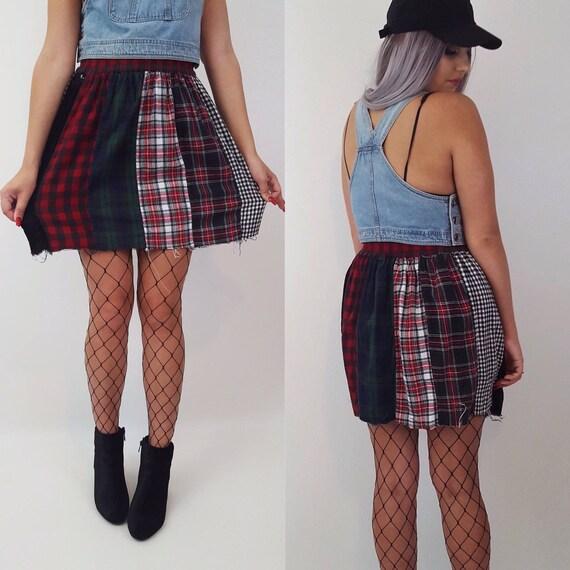 80s Vintage Patchwork Plaid Circle Skirt - Multi Color Size Medium Patchwork Skirt - Womens Plaid Grunge Mini Skirt - Spring Summer Fashion