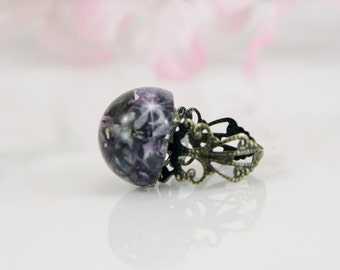 Lilacs and Resin Ring, Statement Ring, Resin and Flower Ring, Terrarium Ring , Purple Ring, Big Ring