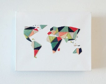 Handcrafted Geo World Map Embroidery