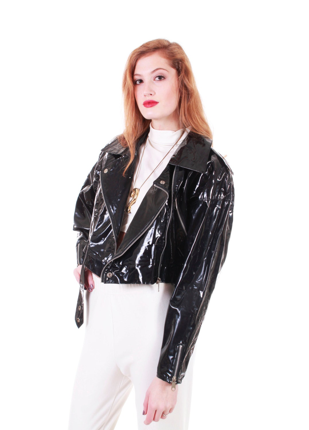 Reserved 90s goth clubkid black shiny pvc motorcycle biker jacket s - Previous Item Created With Sketch Next Item Created With Sketch