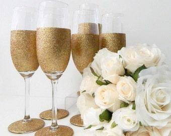 Younique Gold Champagne Glitter Glass Gift Set Gold Glasses Gold Birthday Gift Gold Wedding Glasses Wedding Collection Mix and Match x 4 Rio