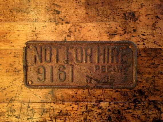 1936 Not For Hire License Plate, 1930s License Plate, Wisconsin License Plate, Commercial License Plate
