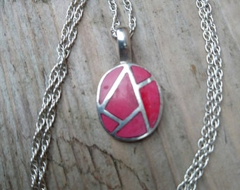 Sterling silver and red enamel pendant and chain