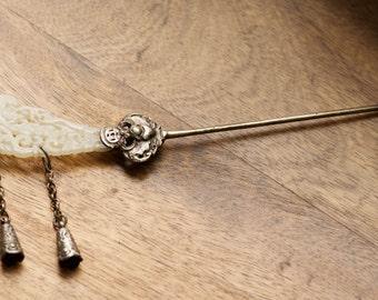 Antique Qing Dynasty Chinese White Carved Jade Silver Bat Phoenix Hair Stick Hair Pin Fa Zan 髮簪