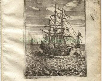 1719 Manesson Mallet Ships Rigging, Ropes, Galleon, Ships Man-of-war, Frigate, Boats, Antique Print