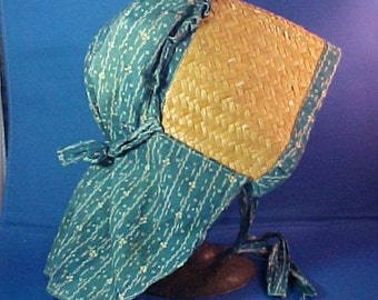 Reserved--Antique c. 1840  Child's Bonnet, Indigo Blue Calico and Straw, All Hand Stitched