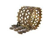 Viking jewelry - Bronze cuff bracelet - Nordic  bronze wide bracelet - Scandinavian jewelry - Rare Kalevala Koru 1940 - hinge cuff bracelet