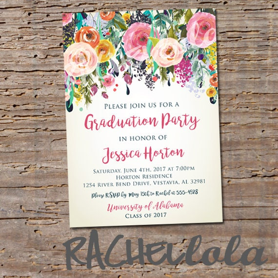 Floral graduation party invitation printable girl college custom il570xn filmwisefo