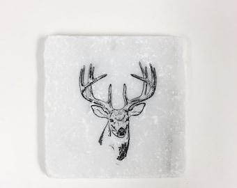 Deer Stone Coasters, Tumbled Marble, Home Decor, Set of Coasters