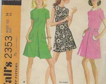 """McCall's 2353  Misses' Dress in three versions  Size 14  Bust 36""""  UNCUT"""