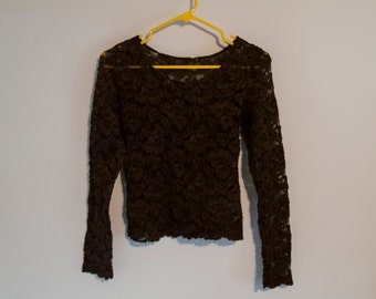 90s Stretchy Sheer Floral Lace Mesh Long Sleeve Top Scoop Neck