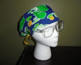 Blue and Green Hippo Surgical Scrub Hat
