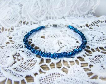Thin glass bead bracelet Navy blue naval bracelet Thin blue line Beach Anklet Friendship bracelet Yoga Minimalist bead Bangle Unisex teen