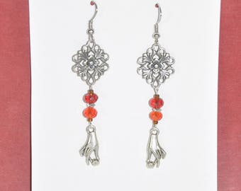Earrings Silver Filigree Red Crystal Flower Cross Hand #C03b