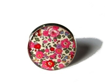 FLOWERS RING - Colorful flowers ring - flowers vintage ring jewelry - summer ring - spring - pink - shabby chic ring - romantic ring