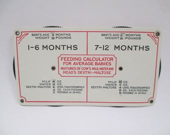 Vintage Feeding Calculator for Babies, 1924 Mead Johnson Plastic Turn Dial Chart, Rare Antique Baby Schedule