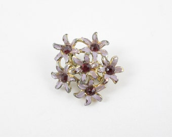 Bouquet of Flowers Pin Purple and Lavender Vintage Brooch