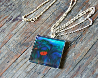Floral Necklace, Nature Inspired Necklace, Square Flower Pendant, Blue and Green Necklace, Resin Flower Necklace, Flower Jewelry