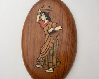 SALE! Vintage Wood Inlay Indian Art Vintage Inlaid Wood Marquetry Wall Plaque Multi -Wood Carved Wall Art