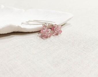Pink Topaz Bloom Earrings - Petite Faceted Pink Topaz Flower Drop Earrings Wire Wrapped Gemstones in Sterling Silver Handmade OOAK