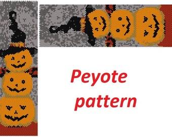 Seed Bead Pumpkin Miyuki Delica Halloween Bead Weaving PATTERN pumpkin bracelet digital file peyote beginner pattern orange pattern beading