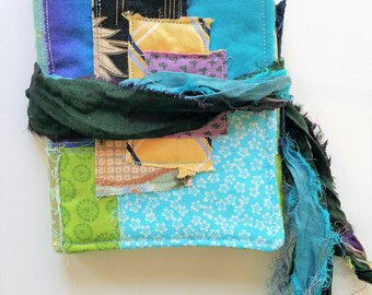 Fabric Wallet - Japanese Boro Style Patchwork Wallet - Fabric Card Keeper - Blue and Green Fabric Wallet - Card Case - Gift For Her