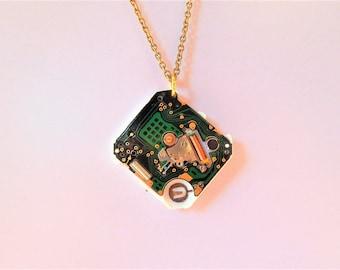 Digital Watch Part Pendant - Cyber Steampunk Inspired - Circuit Board Necklace - Tech Jewelry - Recycled Watch Part - Square Digital Watch