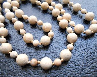 80s vintage necklace - stone tan cream natural stone necklace - 80s Sorcerer's Stone necklace