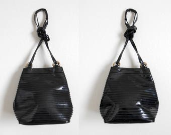 90s vintage bag - black patent bucket bag glossy black - 90s Goth Gloss bag