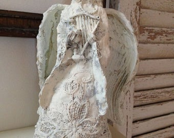 White Painted Angel with Lace Statue Home Decor Garden Art Remembrance Figurine Chalk Painted