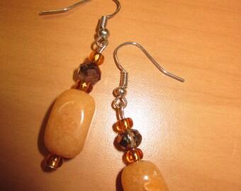 Aventurine dangle Earrings with Shimmer Beads