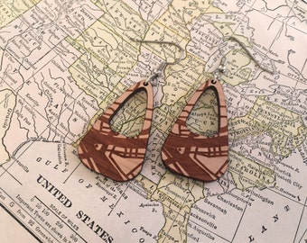 city map wood earrings - any major city -  laser cut wood 5th year wedding anniversary gift idea - holiday gifts