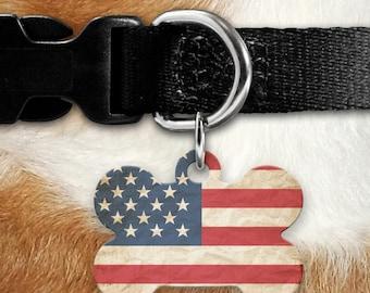 Vintage Patriotic Flag Pet ID Tag - 4th Of July - Retro - Flag Tag - Dog Tag - Pet Tag - Bone Shaped - Two Sided - Veteran - United States