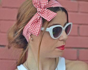 Cotton Headband, Plaid 40s Hair Bow, Retro Headband, Hair Accessories, Womens Accessories, Womens Turban, Womens Headband, Vintage Headbands