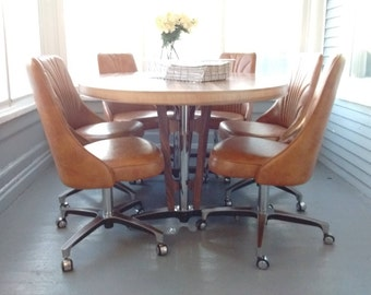 retro dining set table and chairs 70s chromecraft pedestal table