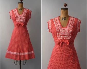 1970's red floral short sleeve sun dress • small