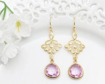 Violet Bridesmaid Earrings, Gold Filigree Earrings, Lavender Earrings, Mother's Gift, Earrings for Mom, Wife Earrings, Wedding Jewelry, Mom