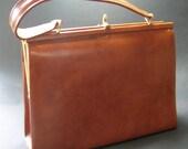 Vintage 1950s Tan Leather Handbag - Vintage Bags