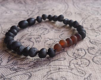 Baltic Amber Bracelet  Raw black and cognac beads 7.5 inch